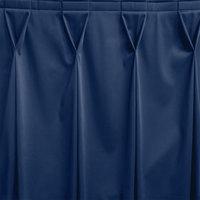 Snap Drape WYN6V17629-DBLU Wyndham 17' 6 inch x 29 inch Dark Blue Bow Tie Pleat Table Skirt with Velcro® Clips