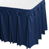 Snap Drape 5412EG29W3-720 Wyndham 17' 6 inch x 29 inch Dark Blue Bow Tie Pleat Table Skirt with Velcro® Clips