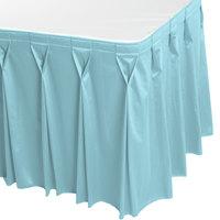 Snap Drape 5412EG29W3-729 Wyndham 17' 6 inch x 29 inch Light Blue Bow Tie Pleat Table Skirt with Velcro® Clips