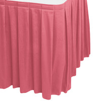 Snap Drape 5412EG29B3-050 Wyndham 17' 6 inch x 29 inch Dusty Rose Box Pleat Table Skirt with Velcro® Clips