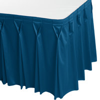 Snap Drape WYN6V17629-BLUE Wyndham 17' 6 inch x 29 inch Blueberry Bow Tie Pleat Table Skirt with Velcro® Clips