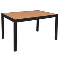 BFM Seating PH4L3571TKBLT Longport 35 inch x 71 inch Black Aluminum Bolt-Down Bar Height Table with Synthetic Teak Top