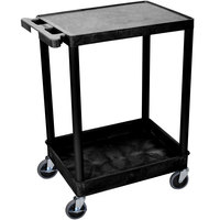 Luxor / H. Wilson STC21-B Black Two Shelf Utility Cart - 1 Tub Shelf, 24 inch x 18 inch x 35 3/4 inch