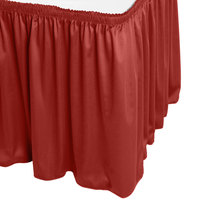 Snap Drape WYN1V21629-TERA Wyndham 21' 6 inch x 29 inch Terra Cotta Shirred Pleat Table Skirt with Velcro® Clips