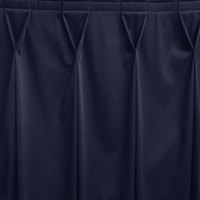 Snap Drape WYN6V17629-NAVY Wyndham 17' 6 inch x 29 inch Navy Bow Tie Pleat Table Skirt with Velcro® Clips