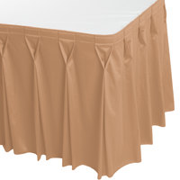 Snap Drape 5412EG29W3-049 Wyndham 17' 6 inch x 29 inch Sandalwood Bow Tie Pleat Table Skirt with Velcro® Clips