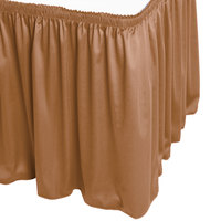 Snap Drape WYN1V21629-BTTR Wyndham 21' 6 inch x 29 inch Butterscotch Shirred Pleat Table Skirt with Velcro® Clips