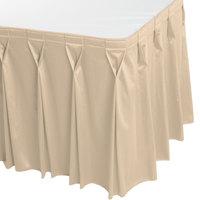 Snap Drape 5412EG29W3-235 Wyndham 17' 6 inch x 29 inch Cream Bow Tie Pleat Table Skirt with Velcro® Clips