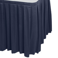 Snap Drape 5412EG29B3-011 Wyndham 17' 6 inch x 29 inch Navy Blue Box Pleat Table Skirt with Velcro® Clips