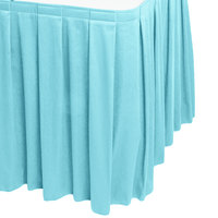 Snap Drape 5412EG29B3-729 Wyndham 17' 6 inch x 29 inch Light Blue Box Pleat Table Skirt with Velcro® Clips