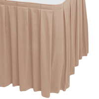 Snap Drape 5412EG29B3-740 Wyndham 17' 6 inch x 29 inch Sable Box Pleat Table Skirt with Velcro® Clips