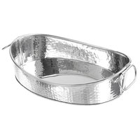 American Metalcraft HAMOV14 Oval Stainless Steel Hammered Tub with Handles - 14 inch X 10 inch X 3 1/2 inch