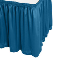Snap Drape WYN1V21629-BLUE Wyndham 21' 6 inch x 29 inch Blueberry Shirred Pleat Table Skirt with Velcro® Clips