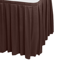 Snap Drape 5412EG29B3-005 Wyndham 17' 6 inch x 29 inch Brown Box Pleat Table Skirt with Velcro® Clips
