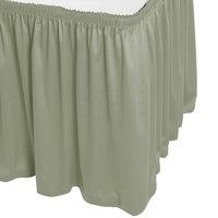 Snap Drape WYN1V21629-EUC Wyndham 21' 6 inch x 29 inch Eucalyptus Shirred Pleat Table Skirt with Velcro® Clips