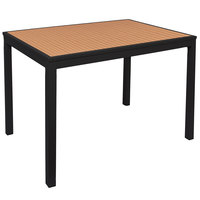 BFM Seating PH4L3248TKBLT Longport 32 inch x 48 inch Black Aluminum Bolt-Down Bar Height Table with Synthetic Teak Top