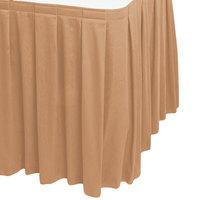 Snap Drape 5412EG29B3-049 Wyndham 17' 6 inch x 29 inch Sandalwood Box Pleat Table Skirt with Velcro® Clips
