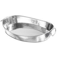 American Metalcraft HAMOV19 Oval Stainless Steel Hammered Tub with Handles - 18 1/2 inch x 13 inch x 3 1/2 inch