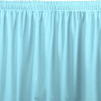Snap Drape WYN1V21629-LBLU Wyndham 21' 6 inch x 29 inch Light Blue Shirred Pleat Table Skirt with Velcro® Clips