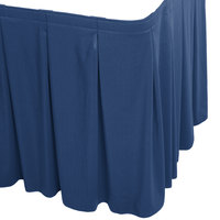 Snap Drape 5412EG29C2-720 Wyndham 17' 6 inch x 29 inch Dark Blue Continuous Pleat Table Skirt with Velcro® Clips