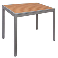 BFM Seating PH4L3535TKSV Longport 35 inch Square Silver Aluminum Bolt-Down Standard Height Table with Synthetic Teak Top