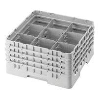 Cambro 9S958151 Soft Gray Camrack Customizable 9 Compartment 10 1/8 inch Glass Rack