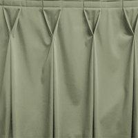 Snap Drape WYN6V17629-EUC Wyndham 17' 6 inch x 29 inch Eucalyptus Bow Tie Pleat Table Skirt with Velcro® Clips
