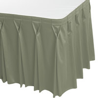 Snap Drape WYN6V17629-EUC Wyndham 17' 6 inch x 29 inch Eucalyptus Bow Tie Pleat Table Skirt with Velcro® Clips