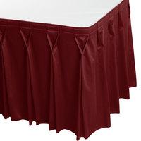 Snap Drape 5412EG29W3-591 Wyndham 17' 6 inch x 29 inch Wine Bow Tie Pleat Table Skirt with Velcro® Clips