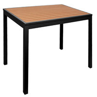 BFM Seating PH4L3535TKBL Longport 35 inch Square Black Aluminum Bolt-Down Standard Height Table with Synthetic Teak Top
