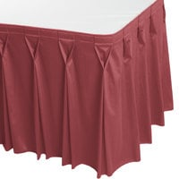 Snap Drape 5412EG29W3-738 Wyndham 17' 6 inch x 29 inch Rosewood Bow Tie Pleat Table Skirt with Velcro® Clips