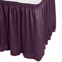 Snap Drape WYN1V21629-PURP Wyndham 21' 6 inch x 29 inch Purple Shirred Pleat Table Skirt with Velcro® Clips
