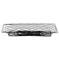 American Metalcraft BNBB32 Rectangular Black Birdnest Metal Basket / Riser - 18 1/4 inch x 9 1/4 inch x 1 1/2 inch
