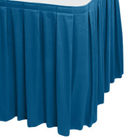 Snap Drape 5412EG29B3-710 Wyndham 17' 6 inch x 29 inch Blueberry Box Pleat Table Skirt with Velcro® Clips