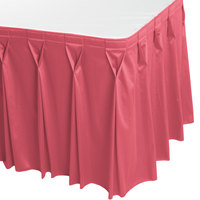 Snap Drape WYN6V17629-DUS Wyndham 17' 6 inch x 29 inch Dusty Rose Bow Tie Pleat Table Skirt with Velcro® Clips