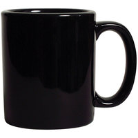 Tuxton BBM-1202 DuraTux Black 12 oz. China C-Handle Mug - 24/Case