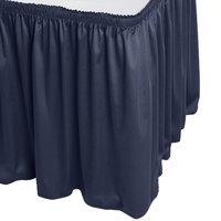 Snap Drape WYN1V21629-NAVY Wyndham 21' 6 inch x 29 inch Navy Shirred Pleat Table Skirt with Velcro® Clips