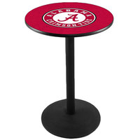 Holland Bar Stool L214B36AL-A 28 inch Round University of Alabama Pub Table with Round Base