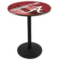 Holland Bar Stool L214B3628AL-A-D2 28 inch Round University of Alabama Pub Table with Round Base