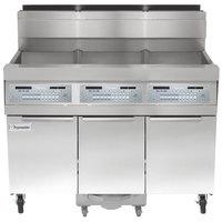 Frymaster SCFHD350G 150 lb. 3 Unit Liquid Propane Floor Fryer System with Thermatron Controls and Filtration System - 300,000 BTU