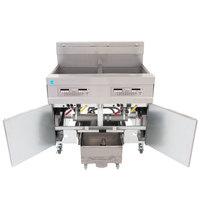 Frymaster 21814EFS 120 lb. 2 Unit Electric Floor Fryer System with SMART4U 3000 Controls and Filtration System - 240V, 3 Phase, 34 kW