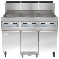 Frymaster SCFHD350G 150 lb. 3 Unit Natural Gas Floor Fryer System with Thermatron Controls and Filtration System - 300,000 BTU