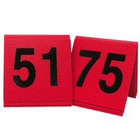 Cal-Mil 226-2 Red/Black Double-Sided Number Tents 51-75 - 3 inch x 3 inch