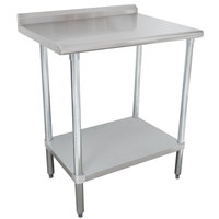 Advance Tabco SFLAG-242-X 24 inch x 24 inch 16 Gauge Stainless Steel Work Table with 1 1/2 inch Backsplash and Stainless Steel Undershelf