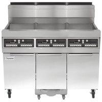 Frymaster SCFHD350G 150 lb. 3 Unit Natural Gas Floor Fryer System with CM3.5 Controls and Filtration System - 300,000 BTU