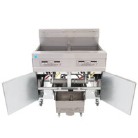 Frymaster 21814EFS 120 lb. 2 Unit Electric Floor Fryer System with SMART4U 3000 Controls and Filtration System - 208V, 3 Phase, 34 kW