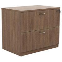 Alera ALEVA513622WA Valencia Walnut Two-Drawer Laminate Lateral File Cabinet - 34 inch x 22 3/4 inch x 29 1/2 inch