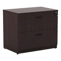 Alera ALEVA513622MY Valencia Mahogany Two-Drawer Laminate Lateral File Cabinet - 34 inch x 22 3/4 inch x 29 1/2 inch