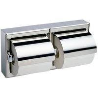 Bobrick B-6999 Surface-Mounted Double Toilet Tissue Dispenser with Stainless Steel Hood and Bright Polish Finish