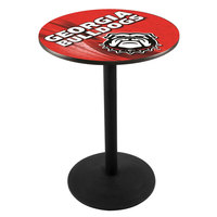 Holland Bar Stool L214B3628GA-DOG-D2 28 inch Round University of Georgia Pub Table with Round Base